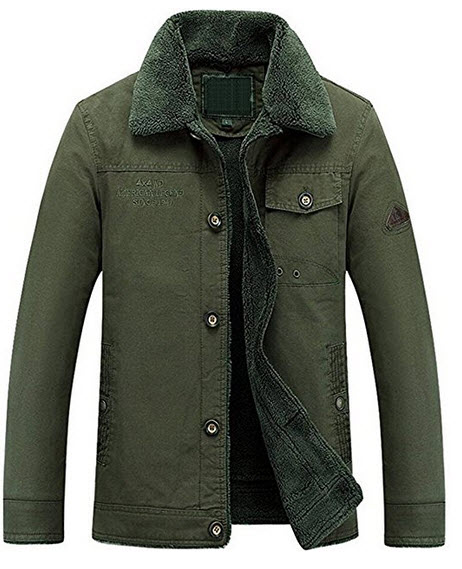 ZSXJZYCC Mens Plus Cotton Warm Fur Collar Slim Fit Jacket Outwear Parka Coat Winter Quilted Coat 8