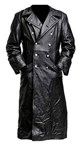 Zubacom WW2 Black Leather Trench Coat – Mens German Officer Military Uniform Long Trench Coat