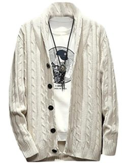 ZYFGfree Mens Solid Shawl Collar Long Sleeve Knit Cardigan Sweater Creamy White US XL