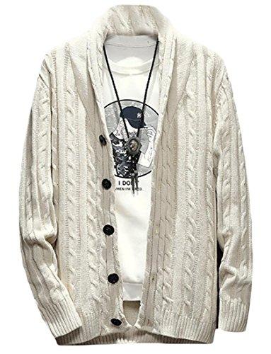 ZYFGfree Mens Solid Shawl Collar Long Sleeve Knit Cardigan Sweater Creamy White US XL