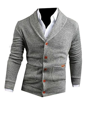 ZYFGfree Mens Stylish Button Down Shawl Collar Knit Solid Cardigan Lightgrey