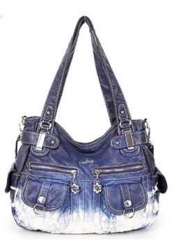 Zzfab 2 Front Pockets Large Soft Washed Leather Shoulder Bag Soft leather Cross Body Bag Z-Blue