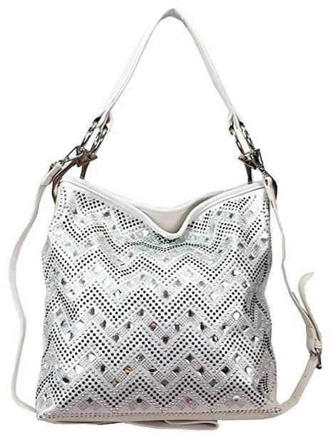 Zzfab Sparkle Gem Chevron Rhinestone Hobo Bag with Extra Shoulder Strap